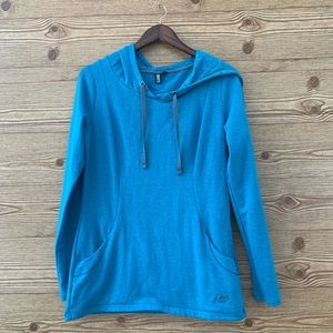 ROOTS HOODED ACTIVE TUNIC SWEATSHIRT SWEATER TEAL